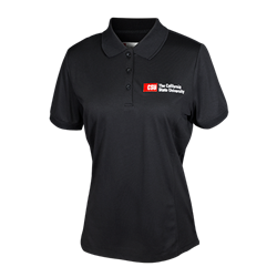 Women's CSU Left Chest Logo Polo-Black