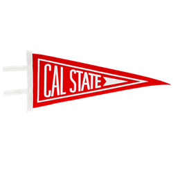 "6"" by 15"" Cal State Felt Pennant-Red & White"